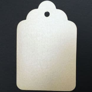 10 Scalloped Tags Pearlescent Ivory Card 12 x 8cm