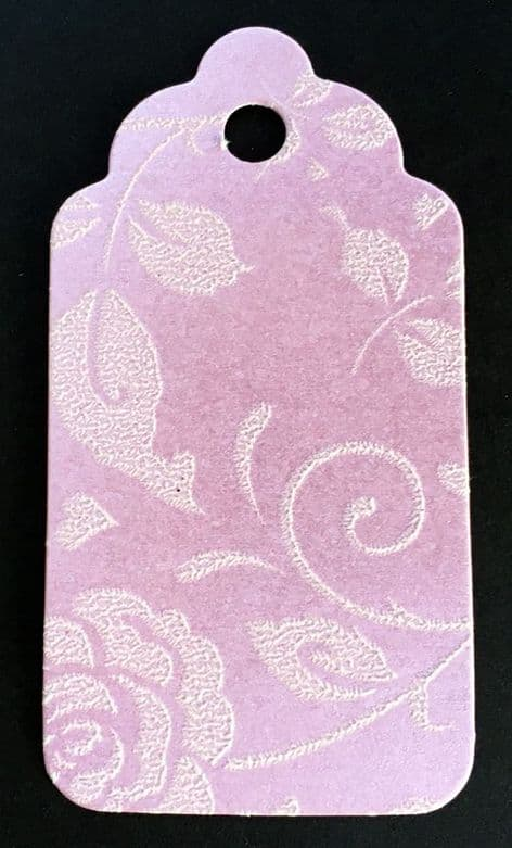 10 Scalloped Tags Pearlescent Pink Floral Embossed Card 6.25 x 3.25cm