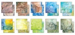 """10 Sheets Ink Drops - Earth  6""""x6"""" Premium Paper Craft Consortium"""