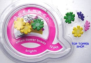 12 SMALL FLOWER BRADS BRIGHTS QUEEN & CO