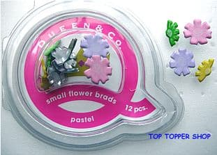 12 SMALL FLOWER BRADS PASTEL QUEEN & CO