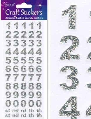 14mm BOLD NUMBERS  SILVER GLITTER Eleganza Craft Stickers