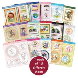 15 Pop-a-Topper Sheets  - Play Time Hunkydory Foiled Die Cut Card Toppers