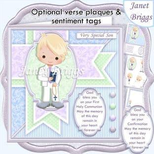 1ST HOLY COMMUNION Blonde Boy & Verse  Card Kit digital download
