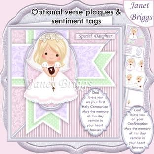 1ST HOLY COMMUNION Blonde Girl & Verse  Card Kit digital download