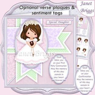 1ST HOLY COMMUNION Girl & Verse  Card Kit digital download