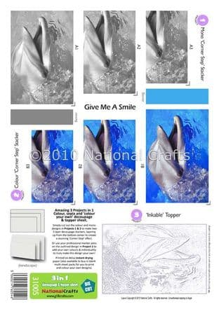 3 in 1 - GIVE ME A SMILE DOLPHIN DIE CUT CORNER STACKERS FROM G18