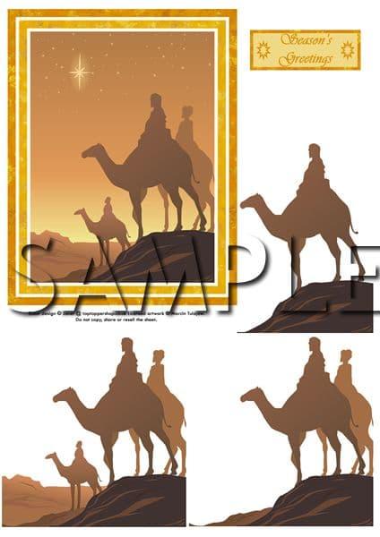 3 KINGS / WISEMEN Christmas card front & decoupage digital download 132
