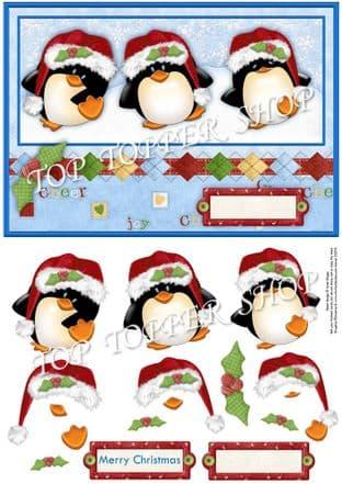 3 MERRY PENGUINS Christmas Decoupage  digital download 338
