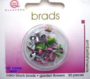 30 COLOUR BLOCK BRADS GARDEN FLOWERS QUEEN & CO