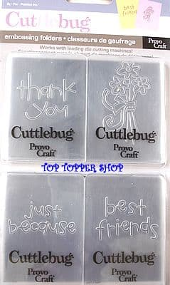 4 CUTTLEBUG EMBOSSING FOLDERS * BEST FRIENDS *