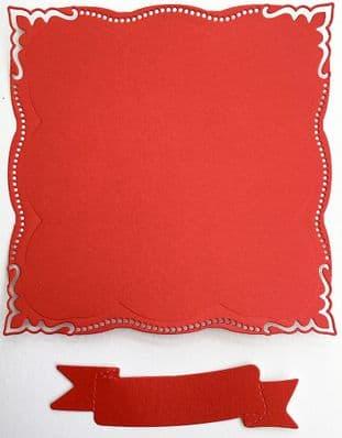 4  Die Cut Elegant  Frames Red Pearlescent Card