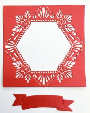 4  Die Cut Leafy Hexagonal  Frames Choice of Colours