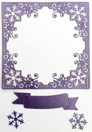 4  Die Cut Snowflake  Frames Purple Pearlescent Card