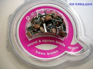 44 ROUND & SQUARE BRADS BASIC BROWN QUEEN & CO