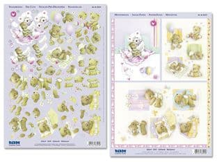 574 NEW BABY set 1 DIE CUT REDDY DECOUPAGE TWIN PACK