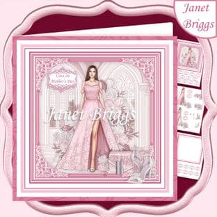 A SPECIAL EVENING PINK & BRUNETTE 7.5 Decoupage Card Kit digital download