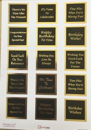 A4 BLACK SENTIMENT PANELS WITH GOLD FOILING