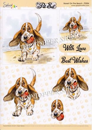 A4 Decoupage The Pet Set Basset on the Beach Splash Crafts PS004