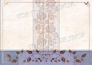 A4 Foiled Card Floral Tapestry Frame Blueberry Kanban CRD1359