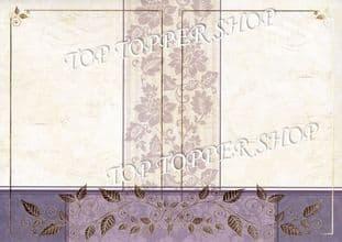 A4 Foiled Card Floral Tapestry Frame Plum Kanban CRD1360