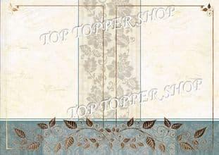 A4 Foiled Card Floral Tapestry Frame Sage Kanban CRD1358