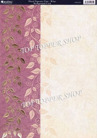 A4 Foiled Card Floral Tapestry Vine Wine Kanban CRD1361