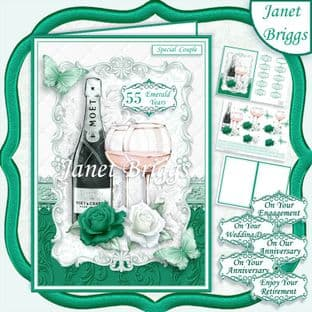 A5 CHAMPAGNE CELEBRATIONS EMERALD  Decoupage Card Kit digital download