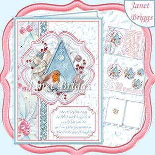 A5 Christmas ROBIN & BIRDHOUSE  Portrait Pyramage Card Kit digital download