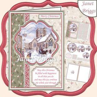 A5 Christmas WINTER CHURCH  Pyramage Portrait Card Kit digital download