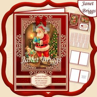 A5 RED & GOLD CHRISTMAS Traditional Santa Quick Card Kit digital download