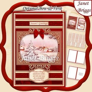 A5 RED & GOLD CHRISTMAS WINTER HAMLET Quick Card Kit digital download