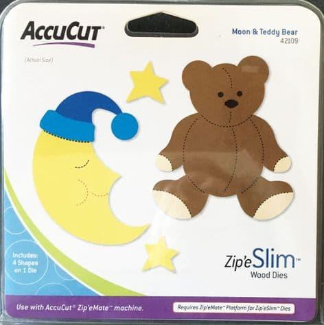 ACCUCUT ZIP'E SLIM WOOD DIE - MOON & TEDDY BEAR