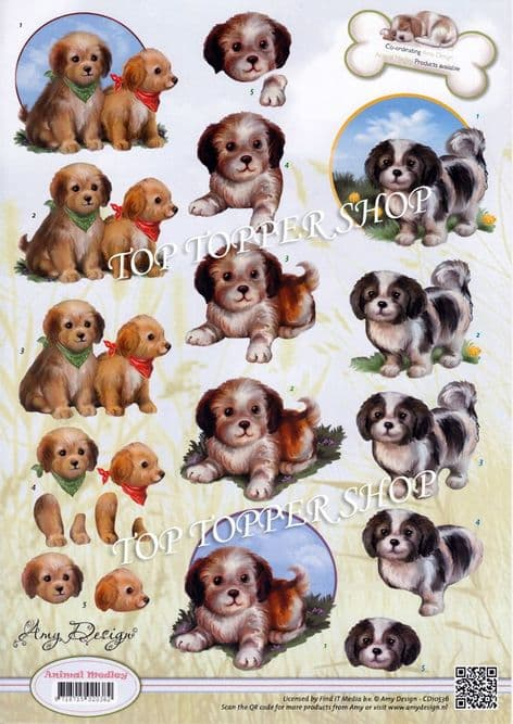 Animal Medley Puppies Decoupage Sheet  Requires Cutting Amy Design CD10536