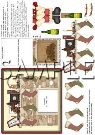 ANIMATED MOVEABLE DECOUPAGE CHRISTMAS FIREPLACE  sheet