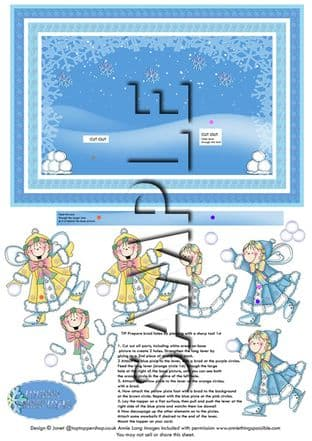 ANIMATED MOVEABLE DECOUPAGE SNOW PIXIES SHEET