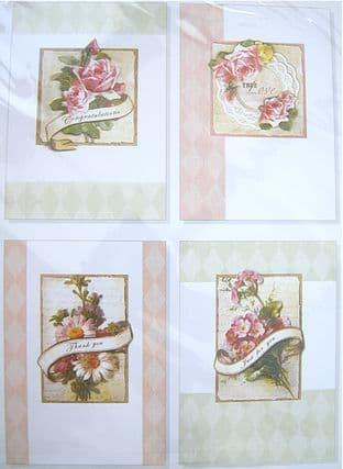 ANITA'S DECOUPAGE SET 4 FLORAL DESIGNS ROSE