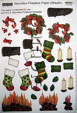 B-C-E STENCILLOS FIREPLACE DECOUPAGE SHEET WREATH