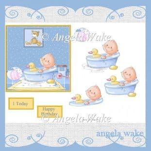 BABY BOY BATH TIME Decoupage sheet AW48