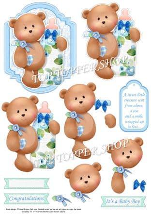 Baby Boy Bear & Bottle Topper & Decoupage Cardmaking printed sheet