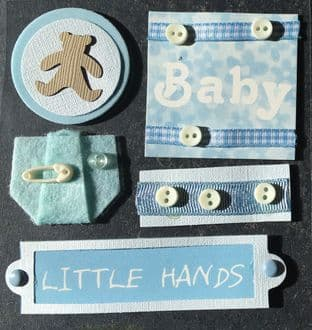 BABY BOY CARD MAKING EMBELLISHMENTS - DOVECRAFT HANDCRAFTED BOUTIQUE 3D STICKERS DCHB36