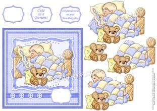 BABY BOY CUTE AS A BUTTON printed sheet km453