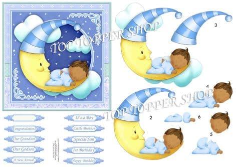 Baby Boy on Moon Dark Skin Topper & Decoupage Cardmaking printed sheet