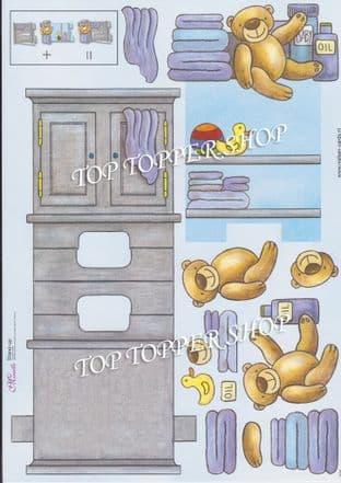 Baby Boy Teddies Stand Up Card & Decoupage Sheet  Requires Cutting 025