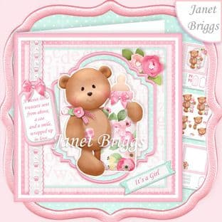 BABY GIRL BEAR & BOTTLE 7.5 Decoupage Card Kit digital download