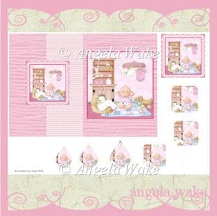 BABY GIRL NURSERY FOLD BACK CARD printed sheet AW49