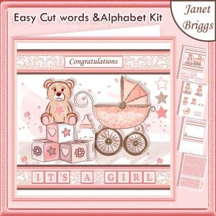 BABY GIRL WORD KIT Easy Cut Words & Alphabet Tiles Card Kit Download