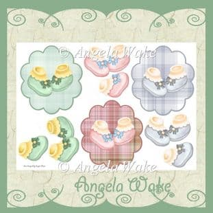 BABY SHOES 3 toppers sheet AW39