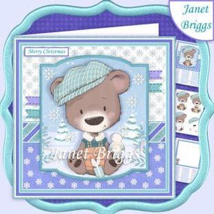 BEAR IN FLAT CAP 7.5 Christmas Decoupage Card Kit digital download