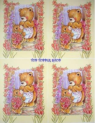 BEAR in FLOWER DOORWAY DECOUPAGE SHEET cc349